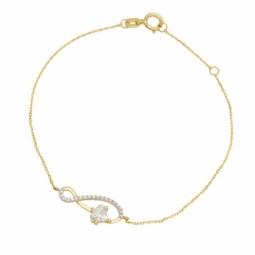 Bracelet en or jaune serti de Swarovski Zirconia