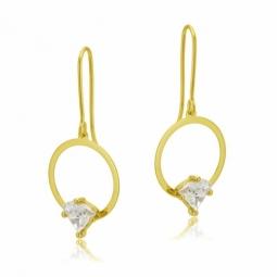 Boucles d'oreilles crochet en or jaune serties de Swarovski Zirconia
