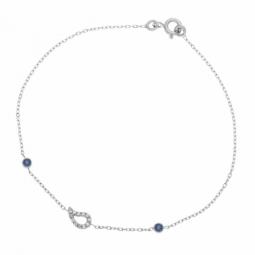 Bracelet en or gris, saphirs et oxydes de zirconium