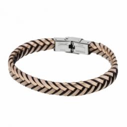 Bracelet acier et simili cuir, couleur cuivrée.