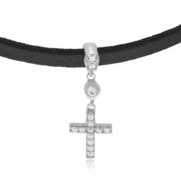 Collier simili cuir en argent rhodié et oxydes de zirconium, croix