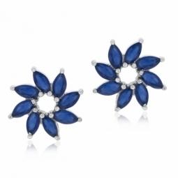 Boucles d'oreilles argent rhodié et  oxydes de zirconium bleus