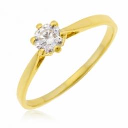 Bague en or jaune, oxyde de zirconium