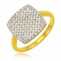 Bague en plaqué or et rhodié, oxydes de zirconium, carré