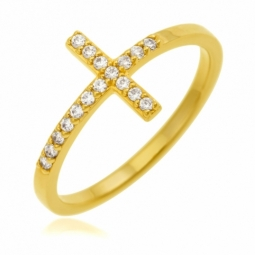 Bague en plaqué or, oxydes de zirconium, croix