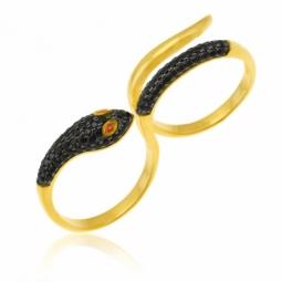Bague en argent doré et rhodié noir, oxydes de zirconium, serpent