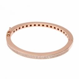 Bracelet jonc bronze plaqué or rose et oxydes de zirconium