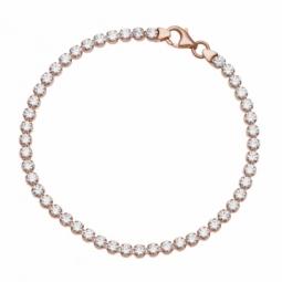 Bracelet bronze plaqué or rose et oxydes de zirconium
