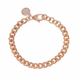 Bracelet bronze plaqué or rose et oxydes de zirconium, maille gourmette
