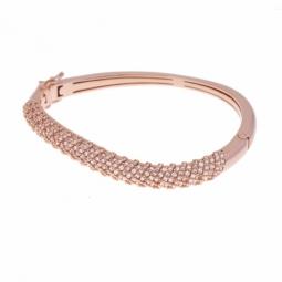 Bracelet jonc en bronze plaqué or rose et oxydes de zirconium