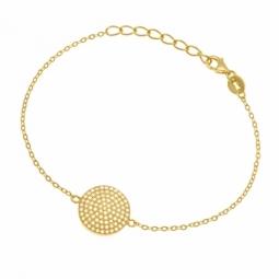 Bracelet en argent doré et oxydes de zirconium irisés, rond