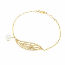 Bracelet en argent doré, perle de  culture et  oxydes de zirconium