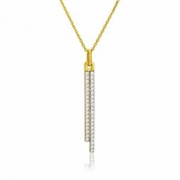 Collier en plaqué or, oxydes de zirconium, barrettes