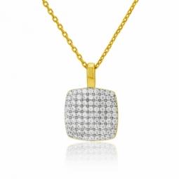 Collier en plaqué or, oxydes de zirconium, carré