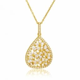 Collier en argent doré et oxydes de zirconium
