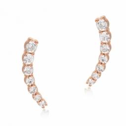 Boucles d'oreilles en bronze plaqué or rose et oxydes de zirconium