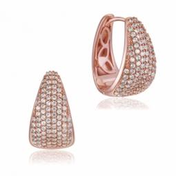 Boucles d'oreilles en bronze doré rose et oxydes de zirconium