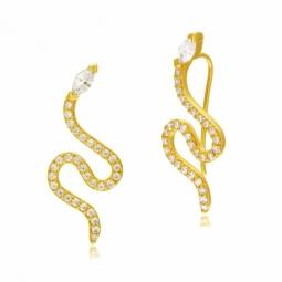 Boucles d'oreilles en argent doré et oxydes de zirconium, serpent