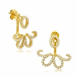 Boucles d'oreilles en argent doré et oxydes