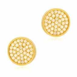 Boucles d'oreilles en argent doré et oxydes de zirconium irisés