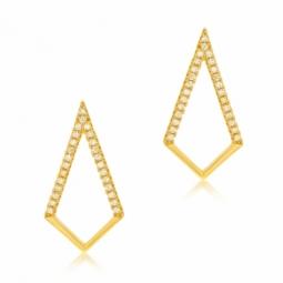 Boucles d'oreilles en argent doré et oxydes de zirconium, losange