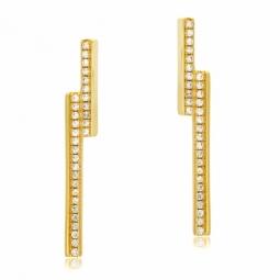 Boucles d'oreilles en argent doré et oxydes de zirconium, barrettes