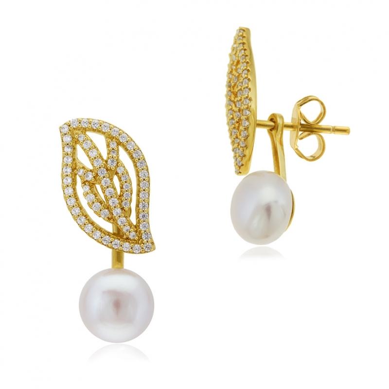 Achat Boucles d oreilles en argent doré, perle de culture et oxydes ... c1c05d76ba7