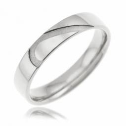 Alliance en or gris 4 mm, coeur sablé
