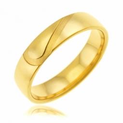 Alliance en or jaune  5 mm, coeur sablé