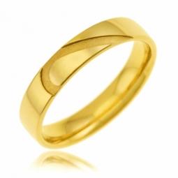 Alliance en or jaune 4 mm, coeur sablé