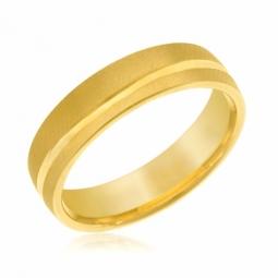 Alliance en or jaune 5 mm, lisse et satinée