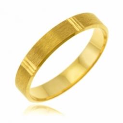 Alliance en or jaune, 4 mm, fantaisie mate