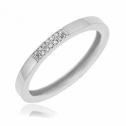 Demi alliance en or gris et  diamants