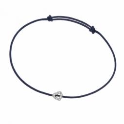 Bracelet cordon or gris et diamants, coeur