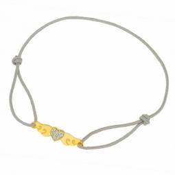 Bracelet cordon en or jaune et laque pailletée grise