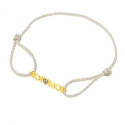 Bracelet cordon or jaune et laque pailletée grise