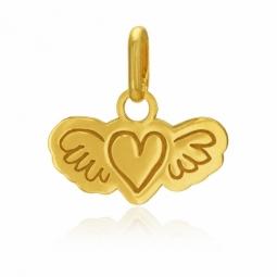 Pendentif en or jaune, coeur et ailes