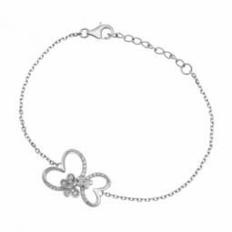 Bracelet en argent rhodié, oxydes de zirconium, papillons.