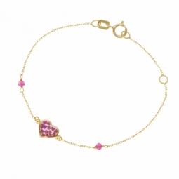 Bracelet en or jaune et laque, oxydes de zirconium