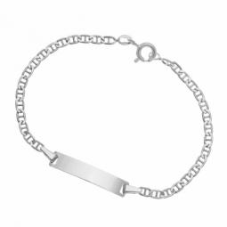 Bracelet identité bébé en or gris, maille marine, plaque rectangle