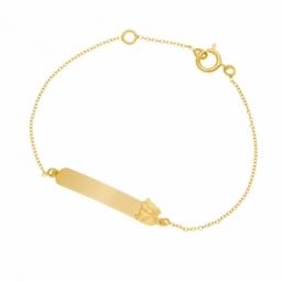 Bracelet identité bébé en or jaune, chat