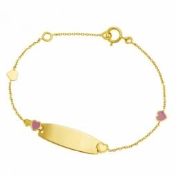 Bracelet identité bébé en or jaune et laque, coeurs