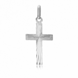 Croix en or gris,  lapidée