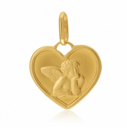 Médaille en or jaune, ange coeur