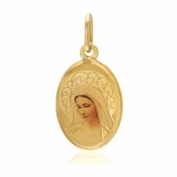 Médaille ovale en or jaune et résine, vierge