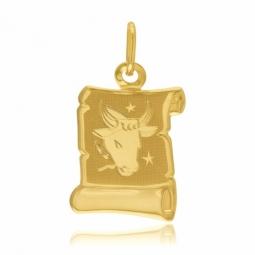 Médaille zodiaque en or jaune, taureau