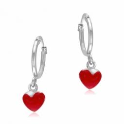 Boucles d'oreilles en argent rhodié et laque rouge, coeur