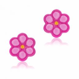 Boucles d'oreilles en argent rhodié et laque, rose