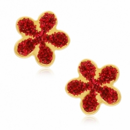 Boucles d'oreilles en or jaune et laque, fleur