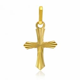 Croix en or jaune, lapidée